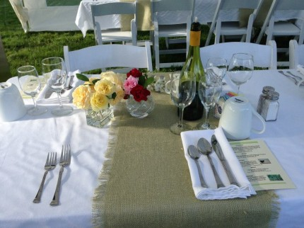 Place setting at dinner table